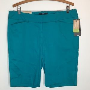 NWT Mossimo Bermuda Shorts 12 Teal Fit 3 10""